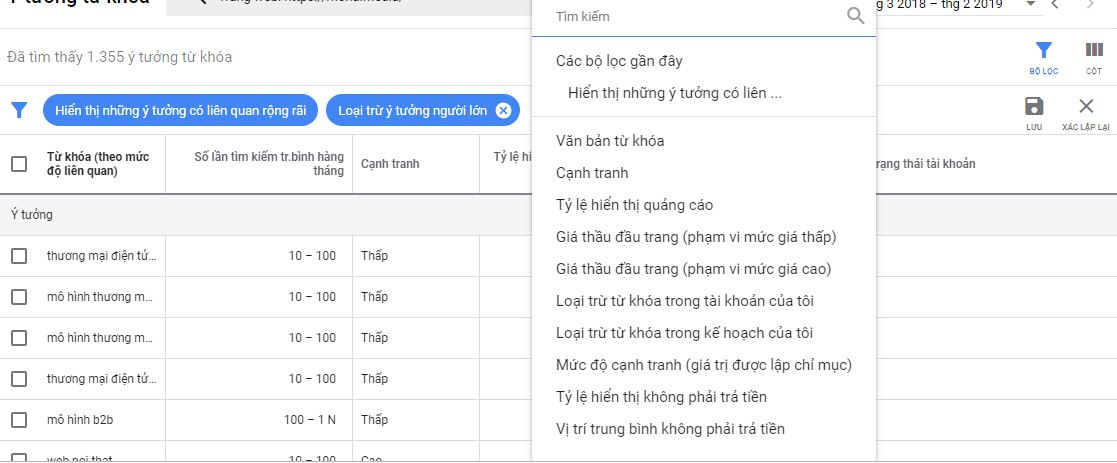 Thiết lập chiến lược từ khóa với Google Keyword Planner