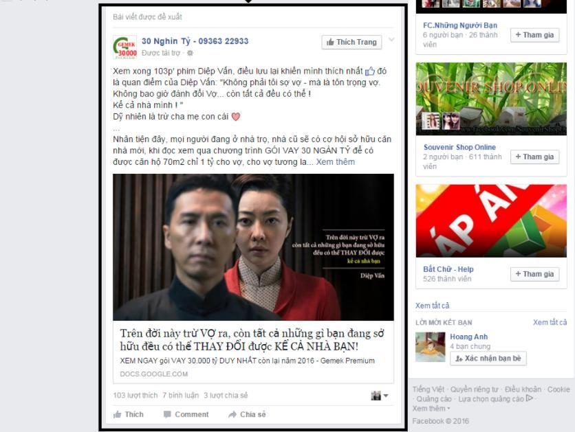 Hình thức quảng cáo bài viết (Page Post Engagement)