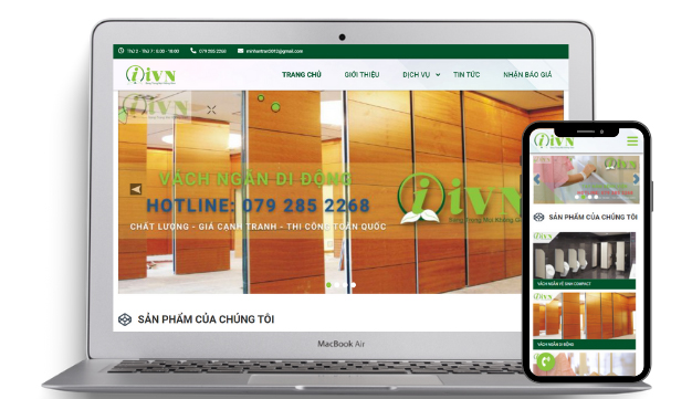 Thiết kế website dịch vụ thi công trang trí nội thất