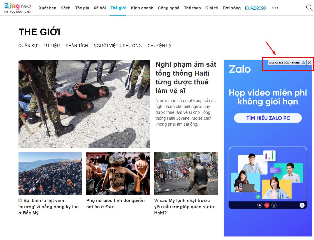 nhận diện quảng cáo của adtima trên báo điện tử